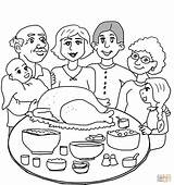 Dinner Coloring Thanksgiving Pages Printable Main Dot sketch template