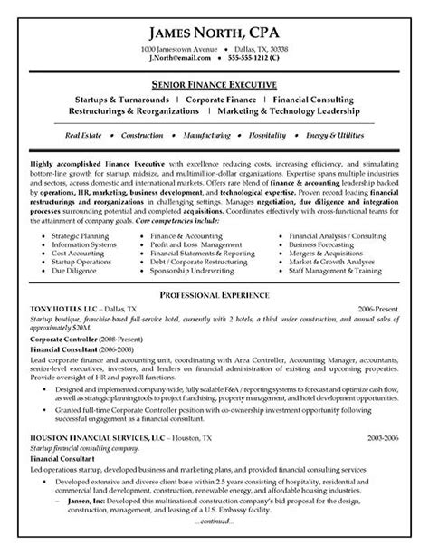 Resume Experience In Finance by Financial Consultant Resume Exle Resume Exles