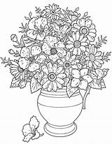 Flower Printable Coloring Bouquet Pages Flowers Colouring Print Sheets Sheet Adults Colored Floral Hard Drawing Patterns Tree sketch template