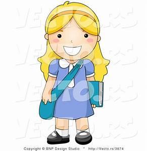 Vector of Happy School Girl Standing with Shoulder Bag and ...