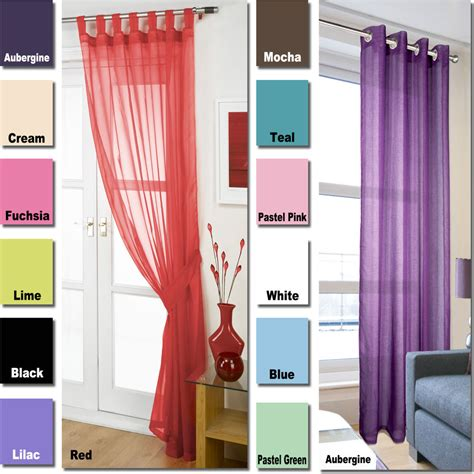 voile net tab top curtain panels linen eyelet ring top