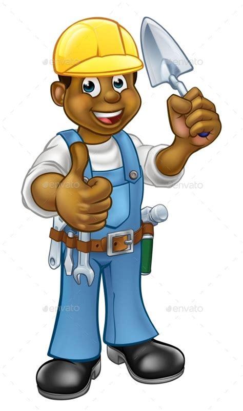 cartoon black builder  bricklayer construction worker