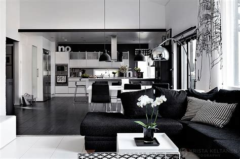 Kitchen And Dining Room Design Ideas - elegant black and white interior design with comfortable atmosphere
