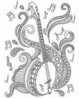 Coloring Pages Music Adult Mandala Adults Books Banjo Musical Instruments Sheets Colouring Relax Mandalas Colorish Apple Itunes Drawing Zentangle Violin sketch template