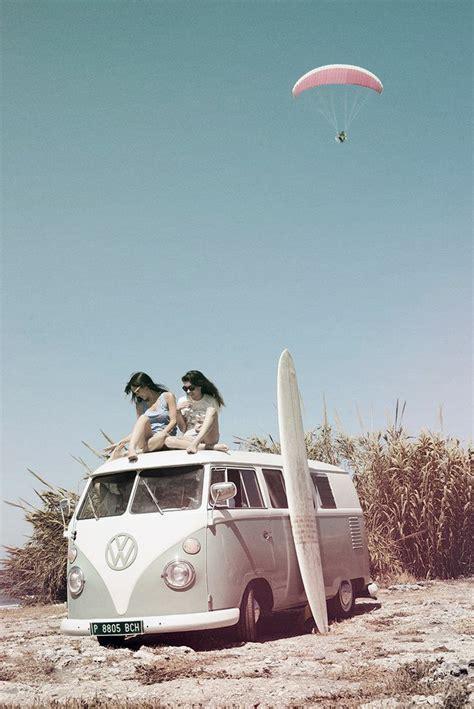 volkswagen van beach vw van with surfboard