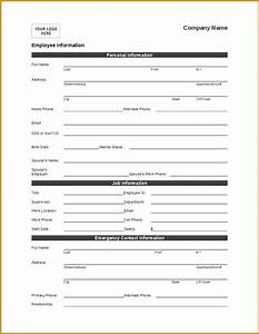 Self Employment Resume Employee Personal Information Form Template Company