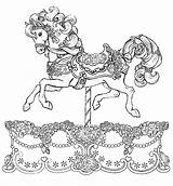 Coloring Carousel Pages Horse Gypsy War Drawing Carriage Animals Unicorn Printable Horses Adults Colouring Beside Tocolor Pool Template Carousels Animal sketch template