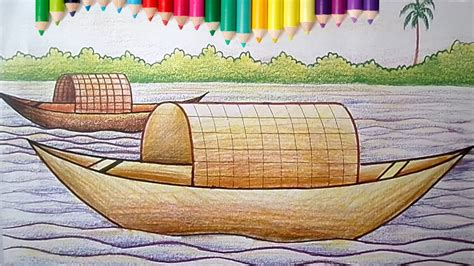 House Boat Drawing by How To Draw A Boat House For Children With Coloring Pages