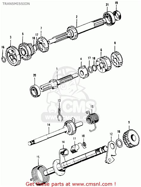 honda ct90 trail 1970 k2 usa transmission schematic partsfiche
