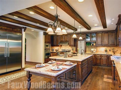 Country Style Tv Cabinet by Faux Sandblasted Beam Kitchen Ceiling Traditional