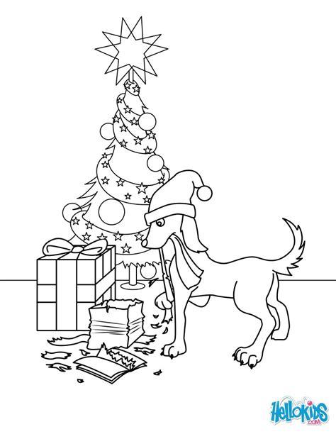 coloriages chien qui mange les cadeaux de noel fr