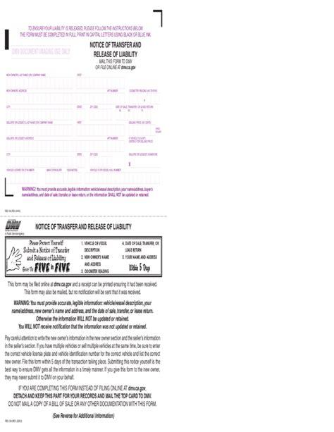 notice  transfer  release  liability california