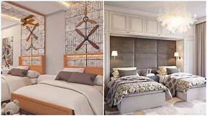 Twin Bedroom Design With Double Bed - Room Ideas