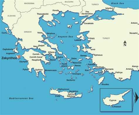 greece map zante