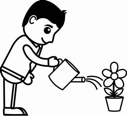 Cartoon Watering Plant Flower Business Character Plants