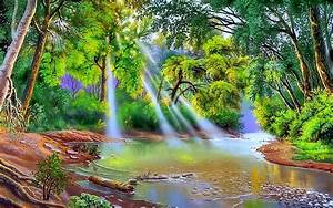 Nature, River, Trees, With, Green, Leaves, Sun, Rays, Art, Hd, Wallpaper, Wallpapers13, Com