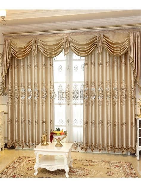 drapery cornices and valances baltic embroidered chagne yellow color floral waterfall