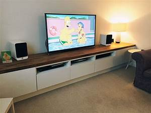 Ikea Table Tv : long tv unit custom built ikea hack using besta units on bespoke frame and the finished with a ~ Teatrodelosmanantiales.com Idées de Décoration