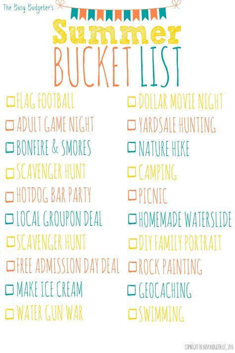 cheap  unique summer bucket list  busy budgeter