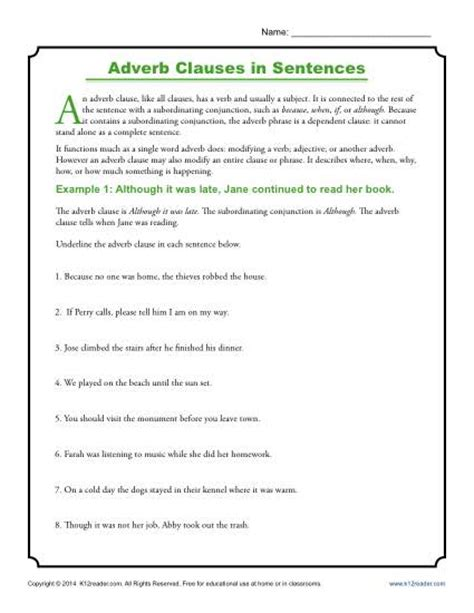 adverb clauses  sentences clause worksheets