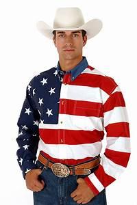 ROPER Men's Long Sleeve STARS & STRIPES PIECED AMERICAN ...