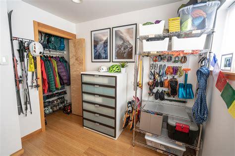 diy gear room  garage  city apartment