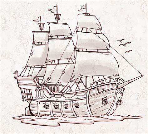 Pirate Ship A Sketch For A How To Draw Book My