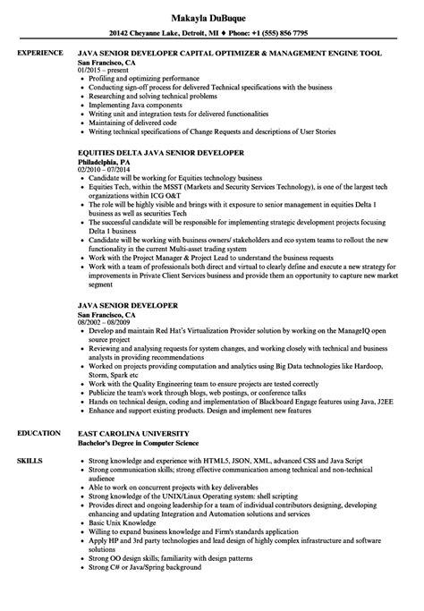 java senior developer resume sles velvet