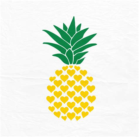 pineapple top silhouette pineapple svg pineapple svg svg pineapple from hearts dxf