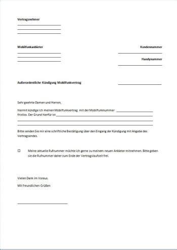 kuendigung handyvertrag vorlage text word