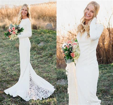 fall winter sleeve wedding dresses sheath crew neck