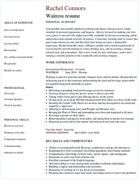 Resume Waitress by Restaurant Waitress Resume Hotel And Restaurant