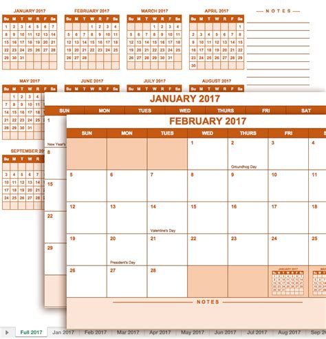 2017 Calendar Template Excel Free Excel Calendar Templates