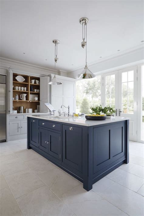 navy blue kitchen traditional  cabinets nickel faucets