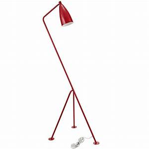 Retro floor lamp modern furniture o brickell collection for Red retro floor lamp