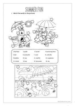 esl summer worksheets