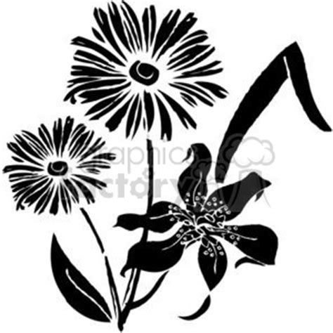 royalty   flowers bw  vector clip art image