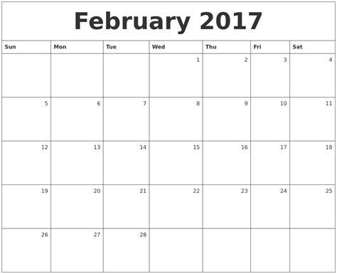 calendar 2017 template february february 2017 printable calendar template holidays excel