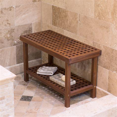Belham Living Lattice Teak Shower Bench  Bathtub & Shower