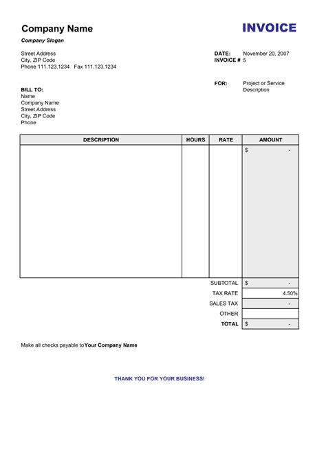 blank billing invoice scope  work template
