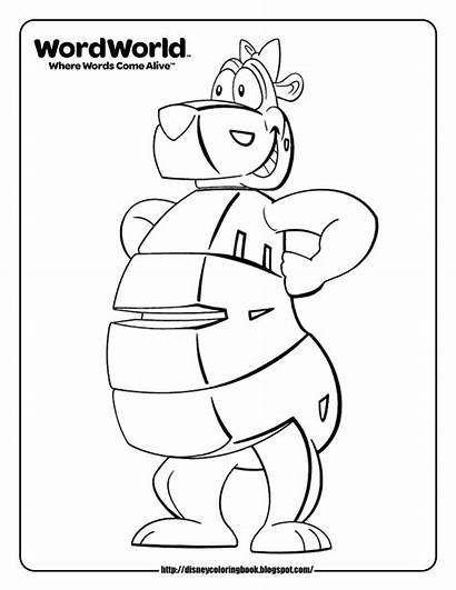 Coloring Pages Word Wordworld Sheets Bear Disney