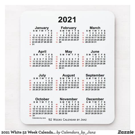 2021 White 52 Week Calendar by Janz Mouse Pad   Zazzle.com ...