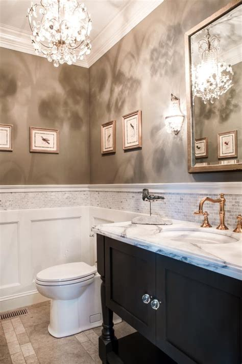 traditional neutral bathroom  split textured walls hgtv