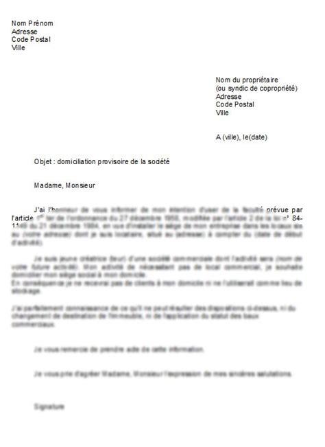 domiciliation si鑒e social modèle de lettre domiciliation d 39 une société au domicile de dirigeant la lettre modèle