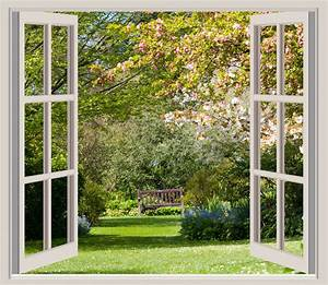 Spring Garden Window Frame View Free Stock Photo