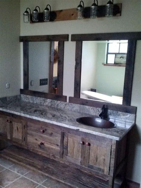 custom  rustic barn wood double vanity