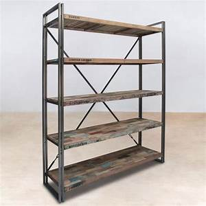étagère Bibliothèque Bois : biblioth que en bois 5 tag res industry achat vente ~ Teatrodelosmanantiales.com Idées de Décoration