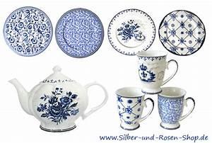 Weisses Porzellan Geschirr : geschirr blau wei im silber und rosen shop ~ Buech-reservation.com Haus und Dekorationen