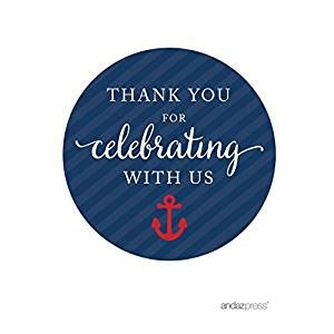 Amazoncom Andaz Press Nautical Baby Shower Collection, Round Circle Labels Stickers, Thank You