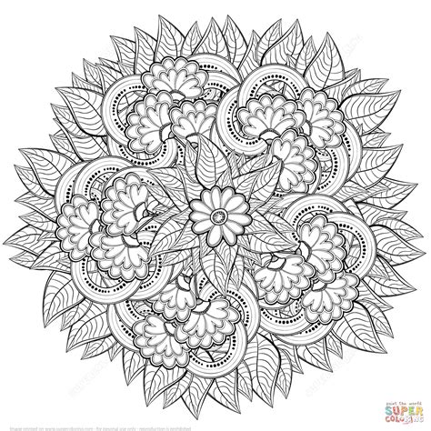 Coloring Zentangle by Abstract Flowers Zentangle Coloring Page Free Printable